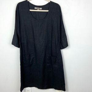 Flax Black Linen Dress Scoop Neck Front Pockets S